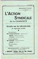 L'Action Syndicale De La Charente 7ème Année N°3 Décembre 1938 Pub Peugeot - 1900 - 1949