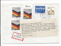 Bund 1265 MiF - 80 Pf Heimatvertriebene Auf Einschreiben - Retour Aus DDR - Postkriegbeleg - Covers