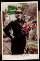 CPA HOMME POMPIER CES FLEURS SONT LE GAGE DE MON SOUVENIR 1912 AN PARIS - Mannen