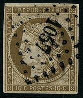 Oblit. N°1 10c Bistre, Signé JF Brun - TB - 1849-1850 Cérès
