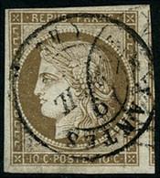 Oblit. N°1 10c Bistre, Obl CàD, Type 15 - TB - 1849-1850 Cérès