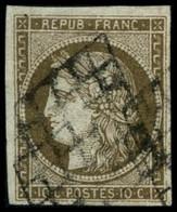 Oblit. N°1c 10c Bistre Verdâtre Foncé - TB - 1849-1850 Cérès