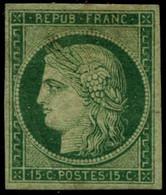 ** N°2 15c Vert, Pli En Diagonale, 4 Grandes Marges, RARE - B - 1849-1850 Cérès