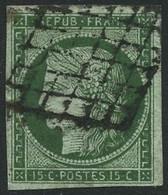 Oblit. N°2 15c Vert, Signé Brun - TB - 1849-1850 Cérès