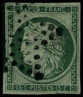 Oblit. N°2 15c Vert - B - 1849-1850 Cérès