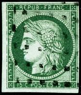 Oblit. N°2 15c Vert, Pelurage Au Verso, Belle Présentation - B - 1849-1850 Cérès