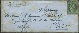 Lettre N°2 15c Vert, Obl Grille S/lettre Cachet D'arrivée Au Verso 17/1/51 - TB - 1849-1850 Cérès
