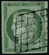 Oblit. N°2a 15c Vert Clair, Signé Calves - TB - 1849-1850 Cérès