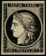 ** N°3 20c Noir S/jaune - TB - 1849-1850 Cérès