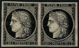 ** N°3 20c Noir S/jaune, Paire Luxe  - TB - 1849-1850 Cérès