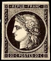 * N°3 20c Noir S/jaune - TB - 1849-1850 Cérès