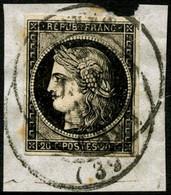 Oblit. N°3 20c Noir, Obl 2/1/49  Type 14 (cote Cérès 2008) - TB - 1849-1850 Cérès