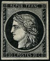 * N°3a 20c Noir S/blanc - TB - 1849-1850 Cérès