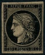 * N°3b 20c Noir S/chamois - TB - 1849-1850 Cérès
