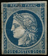 ** N°4 25c Bleu, Pli De Gomme Horizontal, Qualité Standard - B - 1849-1850 Cérès