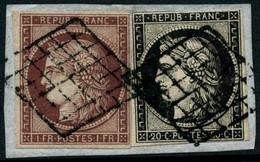 Oblit./fragment N°6 + 3 Les 2 Val S/fgt - TB - 1849-1850 Cérès
