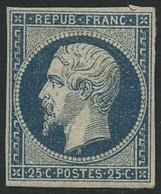 * N°10 25c Bleu, Petite Encoche Dans La Margeen Haut, Hors Timbre - B - 1852 Louis-Napoleon