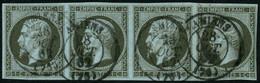Oblit. N°11 1c Olive, Bande De 4 (cote Cérès 2008) - TB - 1853-1860 Napoleon III