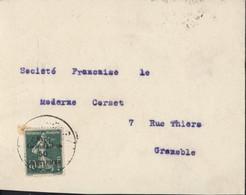 YT 3 Semeuse Camée 10ct Vert Surcharge Syrie Grand Liban 50 Centièmes CAD Peu Lisible Arrivée Grenoble 13 1 24 - Cartas