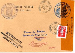 Grève Corse De 1995- Lettre - Vol Kyrnair Toulon-Bastia + Griffes Diverses; 20 Décembre 1995 - Strike Stamps