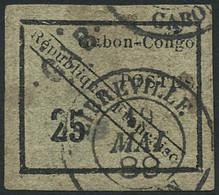 Oblit. N°15 25c Noir/vert, Infime Pli - B - Non Classés