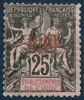 ** N°21 0,10 Sur 25c Noir S/rose, Signé Brun Pelurage Au Verso - B - Non Classés