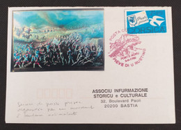 Grève Corse - Lettre Affranchie Par Vignette Privée De Propagande Nationaliste Corse, Acheminée Par Transport Privé. - Strike Stamps