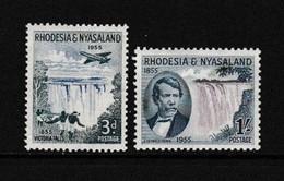 RHODESIA  AND  NYASALAND    1955    Victoria  Falls  Centenary    Set  Of  2    MNH - Rhodesien & Nyasaland (1954-1963)