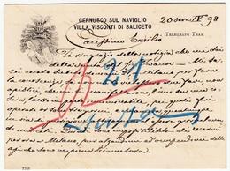 CARTONCINO DA VISITA - CERNUSCO SUL NAVIGLIO - VILLA VISCONTI DI SALICETO - 1898 - TELEGRAFO, TRAM - Vedi Retro - Visiting Cards