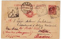 INTERO POSTALE - DIECI CENTESIMI - TIMBRI: INTRA - NOVARA - BADEN - AARGAU - 1907 - VERBANIA - Stamps (pictures)