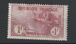 France Neuf Avec Charniére N° 154  Franc + 1 Fran Orphelins De Guerre (forte , Centrage Correct ) - Nuovi