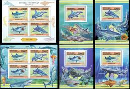 République Démocratique Du Congo - 2801/2804 (BL803) + BL804/807 + BL808 - Requins - 2013 - MNH - Mint/hinged