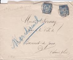 Lettre De Saint Bonnet De Joux Cachet Origine Rurale Pour La Mairie - 1877-1920: Periodo Semi Moderno