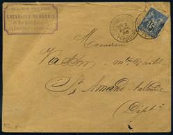 101 Sage Clermont Ferrand Puy De Dôme 1896 Type A1 Chevalier Beauvais Blanc Soieries Pour St Amand Tallende - 1877-1920: Periodo Semi Moderno