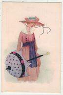 Illustrateurs Non Signés  //  Femme Avec Une Ombrelle - 1900-1949