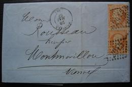 Poitiers 1867 Lettre Du Crédit Agricole Affranchie Avec Une Paire Verticale De 40c, N°23 Cachet De Cire Au Revers - 1849-1876: Classic Period