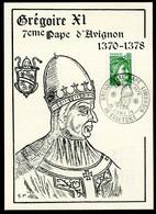 GREGOIRE XI -  7ème PAPE D'AVIGNON - OBLITERATION 21 JANV 1978 - PAPE LIMOUSIN - 19 EGLETONS - Popes