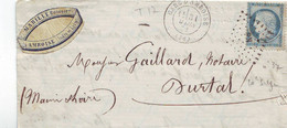 Lettre De Amboise Gare  Céres Pour Durtal Ferroviaire  1872 LSC - 1849-1876: Periodo Classico