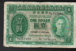 Hongkong, Billet De One Dollar 1949 - Hongkong