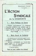 L'Action Syndicale De La Charente 8ème Année N°2 Décembre 1939 - 1900 - 1949