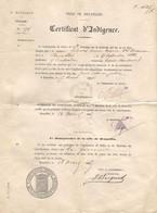 Certificaat Arbeidsongeschiktheid - Certificat D Indigence Ville De Bruxelles 1885 Anne Marie Scheers Ne 1822 - Historical Documents