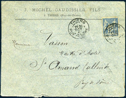 90 Sage Thiers Puy De Dôme 1891 Type A2 Michel Gaudissier Fils > St Amand Tallende - 1877-1920: Periodo Semi Moderno