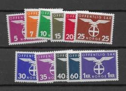 1942 MNH Norway, DIENST Michel 44-54, Postfris** - Officials