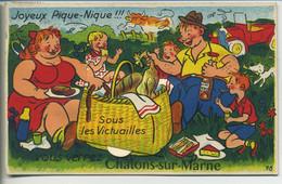 CPA Système 51 CHALONS Sur MARNE Joyeux Pique-Nique  Illustration Famille Voiture Sous Victuailles Vous Verrez >10 Vues - Châlons-sur-Marne