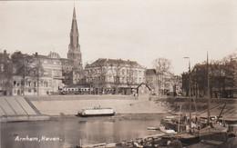 4842541Arnhem, Haven. (oude Haven 1938 Met Tram En Rijnhotel)(rechtsonder Een Kleine Beschadiging ?? - Arnhem