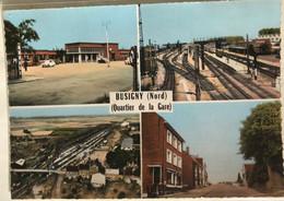 59 Busigny 1966 Quartier De La Gare 4 Vues Gare Rails Quais Wagons Vue Du Ciel Hotel De Ville Drapeau Autos DS - Altri Comuni