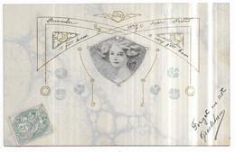 Top Rare Illustration Art Nouveau Tète De Femme Marbre Dorure Embossed Style Mucha Kirchner - Unclassified