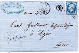 Saône-et-Loire - LAC Affr N° 14B Obl PC 693 C 15 Chagny = Boite Rurale B (localisée Rully) - 1849-1876: Classic Period