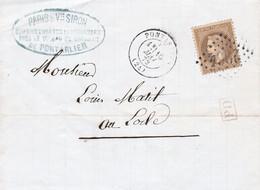 30c Empire Lauré Obl GC 2964 Pontarlier 16 Mai 1872 Sur Pli Commissionnaire Horlogerie Pour Le Locle Suisse - 1849-1876: Klassik
