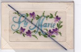 Sainte Marie,  Carte Avec Ajouts Brodée ; Fleurs Pensés (pourtour Gaufrée ) - Embroidered
